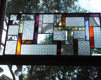 Stained Glass window panel STRIPPED DOWN colorful skinny strips with textured clear Shipped out fast