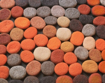 Hand made Rug. Wool Felt Pebbles. Multi color. Orange, ocher, brown and gray color collection.