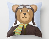 Teddy Bear Pilot Pillow - Decorative Throw Pillow Cover - Nursery Room Decor - Teddy Bear Pilot Children's decor