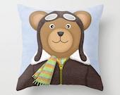 Teddy Bear Pilot Pillow - Decorative Throw Pillow Cover - Nursery Room Decor - Teddy Bear Pilot Children's decor