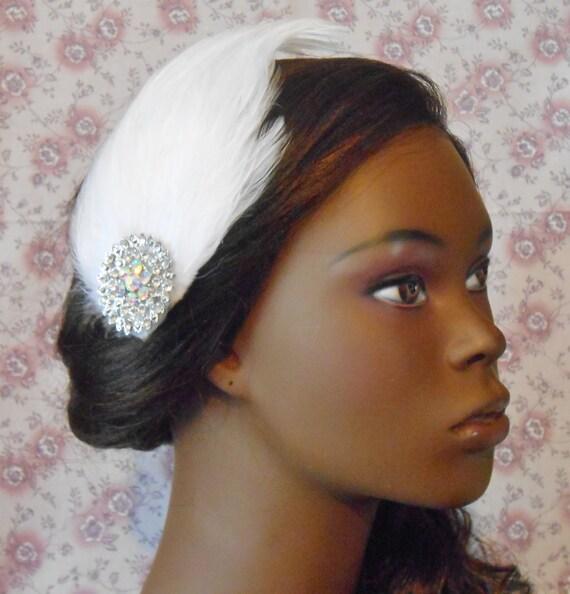 Glam Rhinestone Cream White Feather Hair Clip- Gatsby Wedding