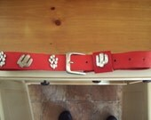 Adorable Vintage Red Leather Girls Womens Cactus Western Cowgirl Belt