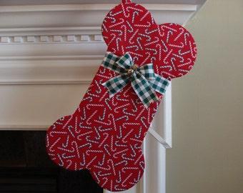 Dog Bone Stocking -  LARGE Dog - Candycanes on Red