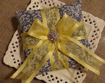 Wedding Ring Bearer Pillow - Gray Damask & Yellow Bow Pillow
