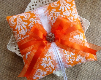 Wedding Ring Bearer Pillow -  Orange & White Damask BOW Pillow
