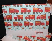 Firetruck Personalized handcrafted Note Cards - personalization may be left off  Set of 10