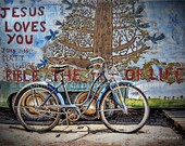 old blue bicycle, outsider art photography, bike decor, Jesus Loves You, folk art Tree of Life with blue birds, Salvation Mountain