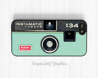 Camera iPhone 6 Case, Mint Green Pastel iPhone 7 6 Plus 5s 5c 5 4s, Samsung Galaxy S5 S4 S3, Note 3 Case Retro Kodak Instamatic Case NP15