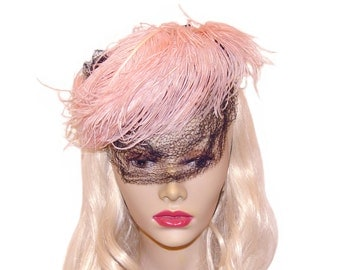 Vintage Fascinator Hat, Tilt Hat, Pink Ostrich Feather, New York Creations, Rare, Collectible, Vintage Late 1930s