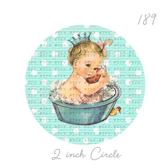 items similar to adorable royal vintage baby girl in bath tub 2 inch circle gift tags digital. Black Bedroom Furniture Sets. Home Design Ideas