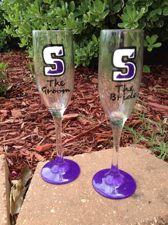 Scranton university bride and groom wedding champagne flutes