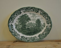 Vintage Meakins green and white china platter - Farm scene - Country