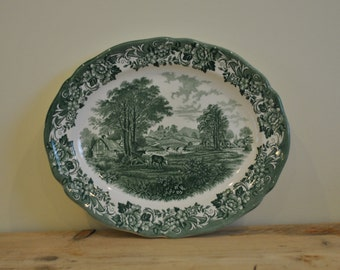 Vintage Meakin green and white china platter - Farm scene - Country