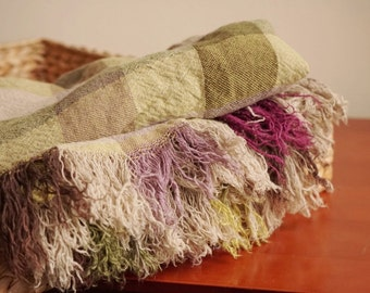 Vintage linen blanket in green and  violet colors--luxury linen--home decor