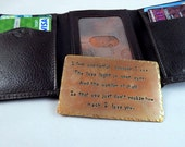 Brass Wallet Insert Card - Brass Hand Stamped and Antiqued - 300 Character Max Summer Sale !!  - Great Anniversary Gift!!
