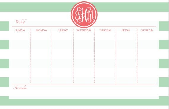 Desk Calendar Design Your Own : Personalized weekly desk planner pages design your