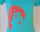 Diego Maradona  Aqua T-shirt- WOMENS in Medium  & Small Created by Carolyn Castaño