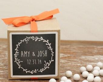 12 - Personalized Wedding Favor Boxes - Laurel Chalkboard Label - Bridal Shower Favors, Personalized Favor Box, Chalkboard Favors