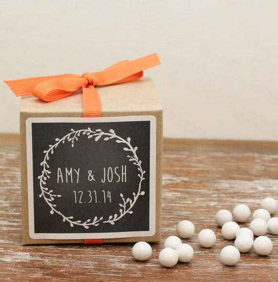 12 Personalized Wedding Favor Boxes Laurel By Thefavorbox