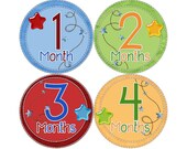 Baby Month Stickers, Monthly Baby Stickers, Monthly Photo Stickers, Boys First Year Photo Props, Baby Shower Gift, Primary Stars (B126)