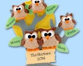 HOOT OWL Family of 5 Hand Painted RESIN Personalized Christmas Ornament
