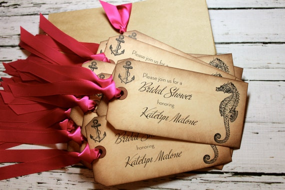 Vintage Inspired Bridal Shower Invitations - Beach Theme - You choose ribbon color