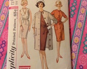 Vintage Simplicity 4845 Shift, Coat, and Coat Dress Sewing Pattern 32 Bust