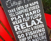 Cottage Rules wooden sign by Dressingroom5