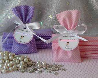 Personalised Mini fabric bag and rosary (Package of 10)
