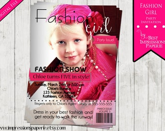 Fashion Girl - A Photo Birthday Invitation - Fashion Show - Dress Up