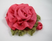Silk Ribbon Rose with Bud, Ribbonwork Flower Pin Brooch – Wedding Prom Bridal Every Day