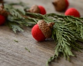 Felted Acorns, red festive christmas holiday decor ecofriendly