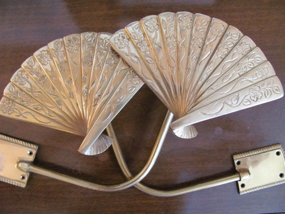 Curtains Ideas art deco curtains : Vintage 70's Art Deco Asian Style Brass Fan Drapery