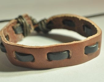 Black interlaced with Brown leather bracelet