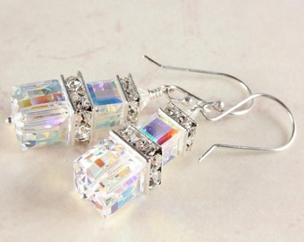 Clear Crystal Cube Earrings, Swarovski Crystal Aurora Borealis Earrings, Sterling Silver, Bridal Earrings, April Birthstone, Prom Earrings