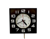 Vintage Black & White General Electric Wall Clock, Black GE Clock, Mid Century Black White Kitchen Clock
