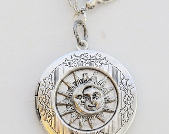 Moon,Sun,Moon Face,Antique Locket,jewelry gift,Pendant,Filigree Leaf,Locket Necklace,Wedding Necklace