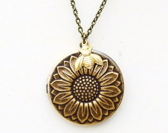 Locket, Sunflower Brass Locket,Bee Locket, Bride,Bridesmaid,brass locket,Wedding Necklace