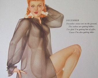 Vintage Varga Pin Up Calendar Girl December 1948 Pin Up Girl Litho Sexy Lithograph The Varga Girl
