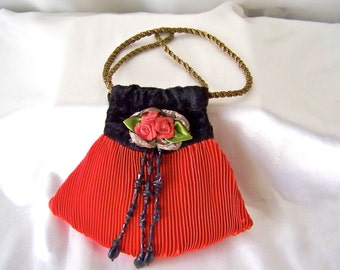 Vintage Red Crepe Bag Black Velvet Small Handbag Evening Clutch Red Purse Vintage 1970s