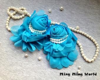 Chiffon Roes Applique,Blue Applique for Costume Desige,Headband,Home Desige .2 pcs (C91)