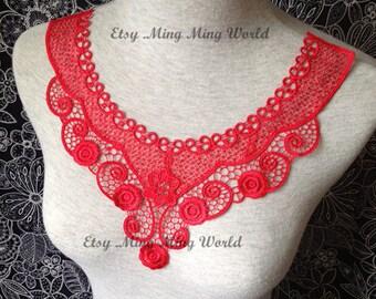 Red Applique - 1 pcs Flower Applique for Altered Couture, Costume Design(A62)