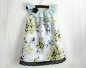 Boutique ruffle neck dress Shabby Chic pale yellow and light aqua green floral in sizes 2, 3, 4, 5, 6, 7, 8