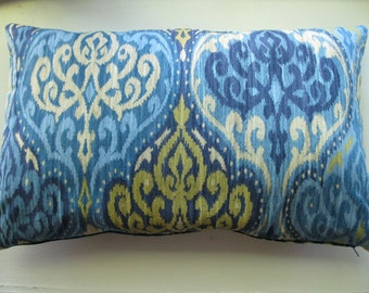 Beautiful Ikat Pattern Pillow Cover .Both Sides Blue and light yellow cushion case 14x22 inches