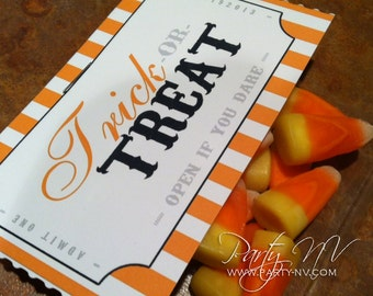 "INSTANT DOWNLOAD - ""Trick or Treat"" Tags"