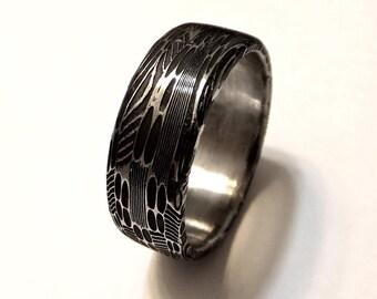 Damascus Wedding Ring -- Oxidized
