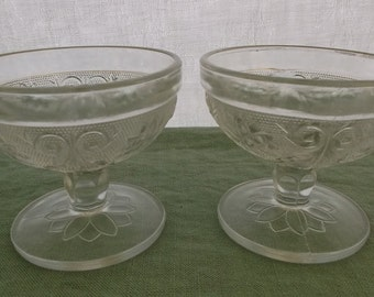 Vintage Pressed Glass Sherbets or Compotes Clear Sandwich Glass 2 Pieces