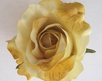 "Full 3"" Butter Yellow Cream Rose Flower Poly Silk Hair Clip"