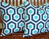 Decorative Pillow Covers, Decorative Throw Pillows, Outdoor Pillows, Indoor/Outdoor - White, Turquoise and Navy - Set of Two