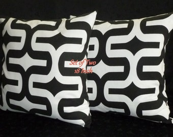 Decorative Pillow Covers, Throw Pillows, Accent Pillows - Two 18inch, Black and White